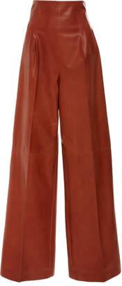 Rosetta Getty Lambskin High Rise Pleat Front Trouser
