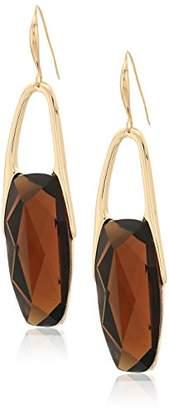 Robert Lee Morris The Bigger Stone Gold and Brown Drop Earrings