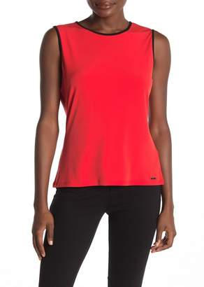 Calvin Klein Sleeveless Piped Solid Knit Top