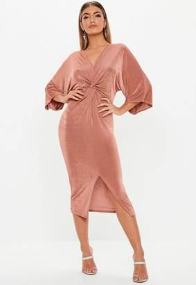 e65a8999cabd Missguided Rose Kimono Sleeve Twist Front Midi Dress