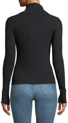 3x1 Ribbed Lettuce-Edge Turtleneck Sweater