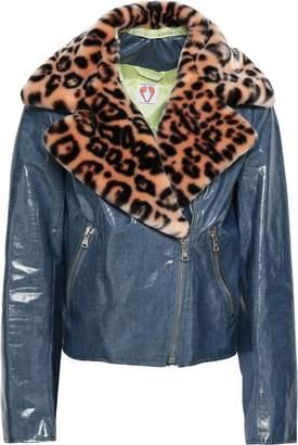 Shrimps Leopard-print Faux Fur-trimmed Coated Cotton-blend Jacket