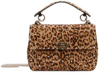 Valentino Rockstud Spike Medium Leopard-Print Shoulder Bag
