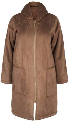 Zizzi Long Reversible Coat with Patch Pockets