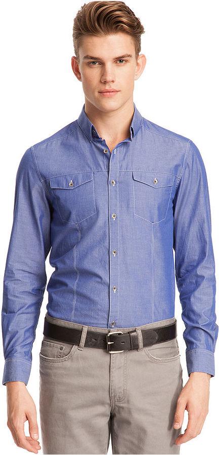 Kenneth Cole Reaction Shirt, Iridescent Chambray Shirt