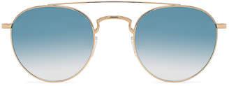 Barton Perreira Vashon Sunglasses in Gold & Custom 2B Arctic Blue Mirror | FWRD