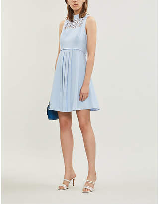 Ted Baker Lace-panel fit-and-flare woven dress