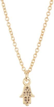 ADORNIA 14K Yellow Gold Plated Sterling Silver Diamond Mini Hamsa Pendant Necklace - 0.10 ctw