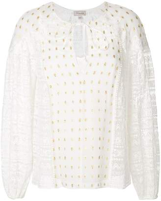 Temperley London lace panelled top with gold flecks