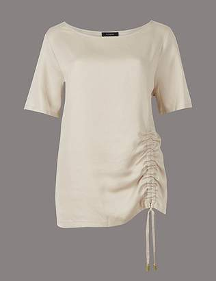 Marks and Spencer Drawstring Front Short Sleeve Top with Linen