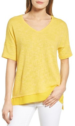 Women's Chaus Woven Hem Marled Knit Top $69 thestylecure.com