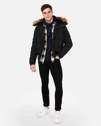 Express Black Faux Fur Lined Hooded Bomber Jacket