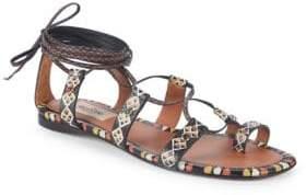 Valentino Geometric Leather Toe Ring Sandals