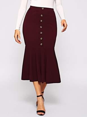Shein Single Breasted Ruffle Hem Bodycon Skirt