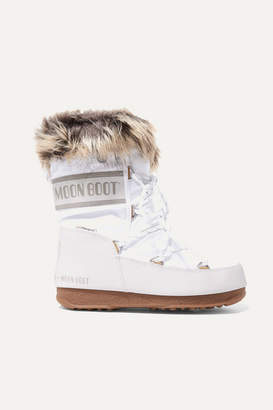 Moon Boot Monaco Faux Fur-lined Shell And Faux Leather Snow Boots - White