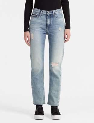Calvin Klein straight leg light blue ankle jeans