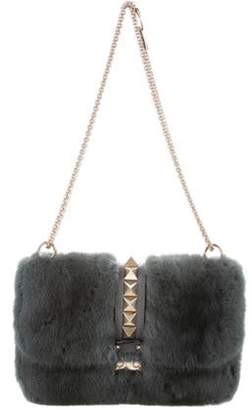 Valentino Mink Fur Rockstud Lock Bag Teal Mink Fur Rockstud Lock Bag