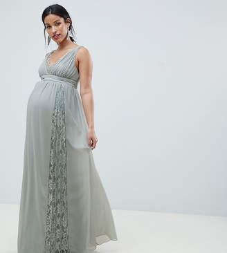 Little Mistress Maternity maxi dress with lace inserts