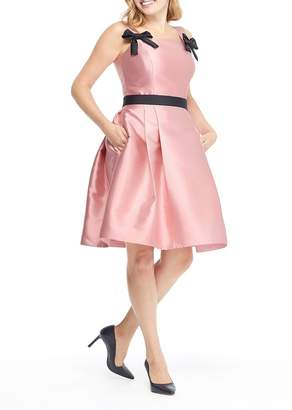 Gal Meets Glam Felicity Bow Strap Pleated Dress (Regular & Plus Size)