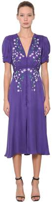 Saloni Lea Floral Embroidered Silk Crepe Dress