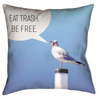 Brayden Studio Enciso Eat Trash Be Free Seagull Outdoor Throw Pillow Brayden Studio