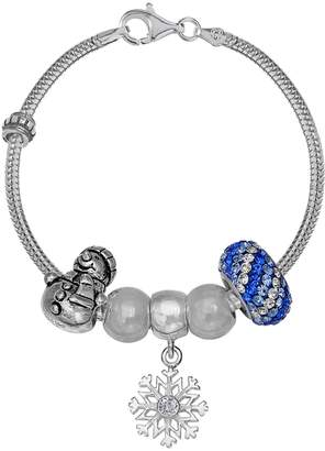 Individuality Beads Crystal Sterling Silver Snake Chain Bracelet & Winter Charm & Bead Set