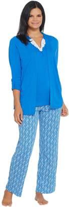 Carole Hochman Ripple Tiles Patio Pant 3-Piece PJ Set