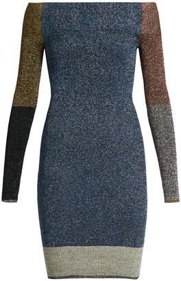 Christopher Kane Contrast-panel metallic-knit dress