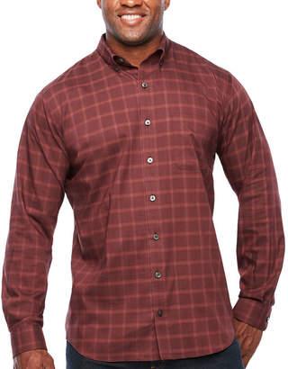 Van Heusen Long Sleeve Grid Button-Front Shirt-Big and Tall