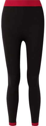 Nagnata - Two-tone Technical-knit Stretch-cotton Leggings - Black