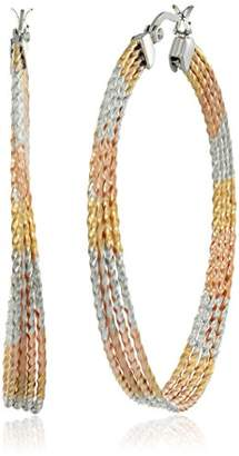 Tri Colored Stainless Steel Hoop Earrings