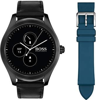 BOSS Hugo Men's Digital Touch Black Leather Strap Touchscreen Smart Watch 46mm