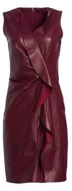 Elie Tahari Marsala Leather Ruffle Front Shift Dress