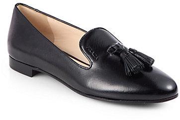 Prada Saffiano Leather Tassel Smoking Slippers