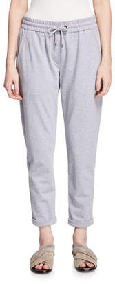 Brunello Cucinelli Heathered Spa Jogger Sweatpants with Monili-Pocket