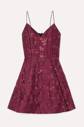 Alice + Olivia Alice Olivia - Anette Pleated Metallic Jacquard Mini Dress - Burgundy