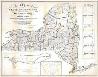 One Kings Lane Vintage New York State Map with Census - 1850