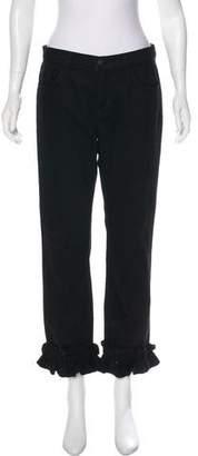J Brand Mid-Rise Ruffle Jeans