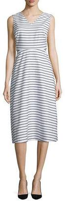 Kate Spade New York Sleeveless Striped A-Line Dress, Ink $208 thestylecure.com