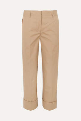 Prada Cropped Cotton Straight-leg Pants - Beige