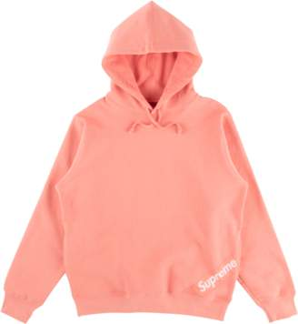 Supreme Corner Label Hooded Sweatshirt - 'SS 18' - Coral
