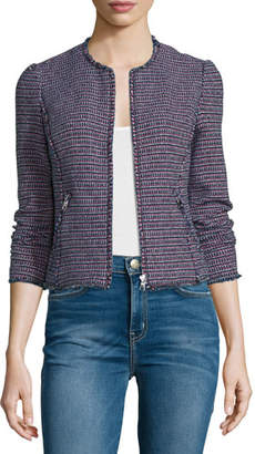 Rebecca Taylor Fitted Zip-Front Tweed Jacket, Navy