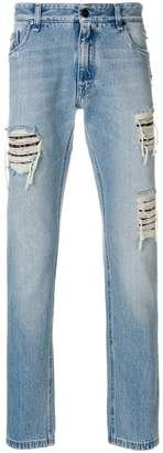 Fendi distressed patch jeans