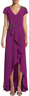 David Meister Bead Embellished Gown w/ Asymmetric Slit