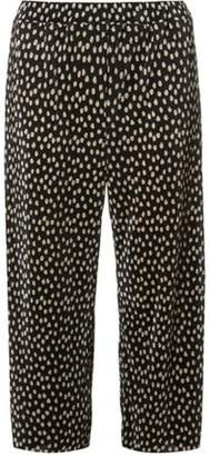 Dorothy Perkins Womens Black Spot Print Plisse Cropped Trousers