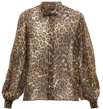 Nili Lotan Evelyn Leopard Print Silk Chiffon Shirt - Womens - Leopard