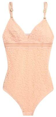Stella McCartney Open Knit-Trimmed Flocked Tulle Bodysuit