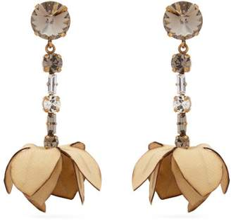 Marni Crystal Embellished Flower Drop Earrings - Womens - Beige