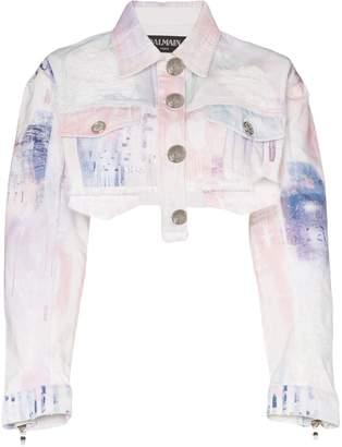 Balmain spray-paint cropped denim jacket