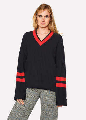 Paul Smith Women's Navy Oversized Ribbed V-Neck Sweater With Contrast Details